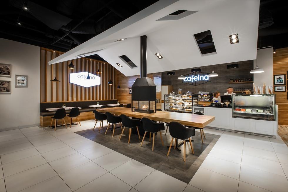 Wnętrze kawiarni Cafeina projektu mode:lina architekci
