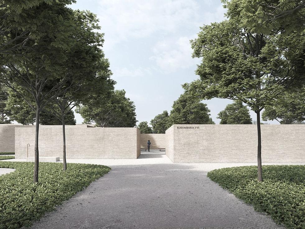 Koncepcja zespołu kolumbariów na cmentarzu w Radomiu
